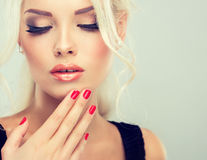 Beautiful model with blonde hair. Royalty Free Stock Images