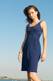 Beautiful Model blue dress Royalty Free Stock Images
