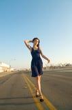 Beautiful Model blue dress Stock Photo