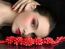 Beautiful model with a bright make-up. Royalty Free Stock Photography