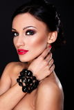 Beautiful model with bright makeup royalty free stock photos