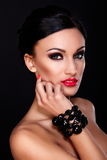 Beautiful model with bright makeup stock images