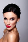 Beautiful model with bright makeup stock photo