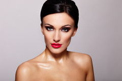 Beautiful model with bright makeup royalty free stock images