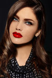 Beautiful model with bright makeup with red lips Royalty Free Stock Image