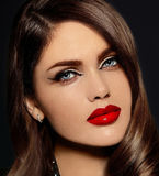 Beautiful model with bright makeup with red lips Stock Photo