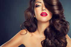 Beautiful model brunette with long curled hair. Luxury fashion style, cosmetics, make-up and dense curly hair. Pefect, bright lips royalty free stock image