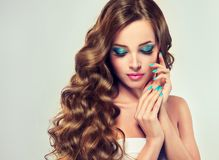 Brunette with long and lush curled hair. Royalty Free Stock Images