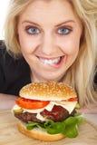 Beautiful model with Burger Stock Image