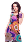 Beautiful model in colorful dress on white Stock Photography