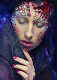 beautiful model with creative make up Stock Photography