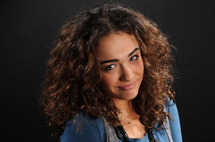 Beautiful model with curly hair Royalty Free Stock Images