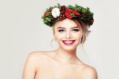 Beautiful Model. Cute Smile and Healthy Skin Stock Photos