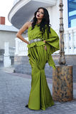 Beautiful model with dark hair in luxurious green dress Royalty Free Stock Image