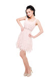 Beautiful model in  dress on white Royalty Free Stock Photos