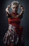 Beautiful model dressed as fashion fairy. Posing on black background royalty free stock photos
