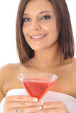 Beautiful model with a drink Royalty Free Stock Photography