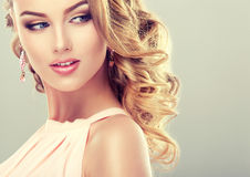 Beautiful model with  elegant hairstyle . Royalty Free Stock Image