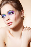 Beautiful model face with bright fashion make-up royalty free stock images