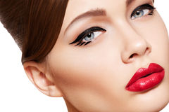 Beautiful model face, glamour make-up & lips stock photo