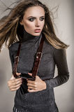 Beautiful model in fashion clothes Royalty Free Stock Photography