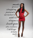 Beautiful model with fashion words Royalty Free Stock Images