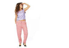 Beautiful model is in fashionable clothes Stock Photo