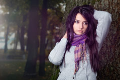 Beautiful model in the forest Stock Images