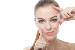 Beautiful model framing her face Royalty Free Stock Image