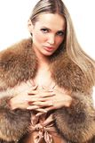 Beautiful model in fur Stock Images