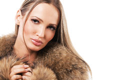 Beautiful model in fur Royalty Free Stock Photos