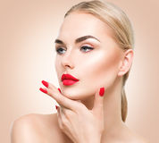 Beautiful model girl with blond hair Stock Photo