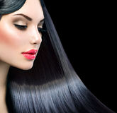 Beautiful model girl with long straight hair Royalty Free Stock Photo