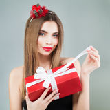 Beautiful Model Girl Open Red Gift Box. Royalty Free Stock Photo