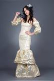 Beautiful model in golden dress Stock Image