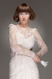 Beautiful model in guipure dress Royalty Free Stock Photo