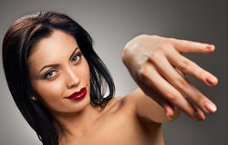 Beautiful model with hand for kiss Stock Photography