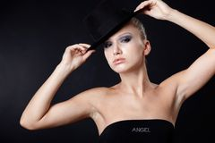 Beautiful model in hat Royalty Free Stock Image