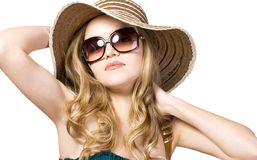 Beautiful model in  hat with glasses. Portrait of beautiful model in  hat with glasses Stock Images