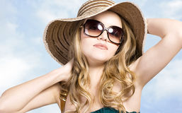 Beautiful model in  hat with glasses Stock Images