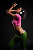 Beautiful model in headphones Royalty Free Stock Photos