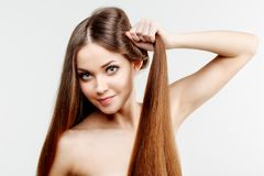 Beautiful model with healthy shiny long hair. Beauty luxurious h stock photos