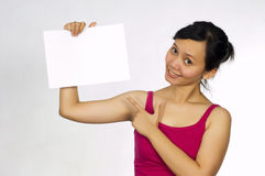 Beautiful Model Holding Blank Sign Stock Photo