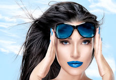 Beautiful Model Holding Fashion Sunglasses on Forehead Stock Photos