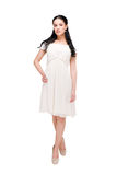 Beautiful Model In Dress On White Stock Images