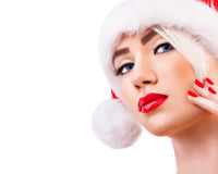 Beautiful Model In Santa Hat Royalty Free Stock Photography