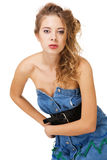Beautiful model in jean dress Stock Photos