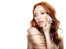 Beautiful model in jewelry Stock Photos