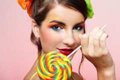 Beautiful model with lollipop Stock Photos