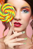 Beautiful model with lollipop Royalty Free Stock Photography